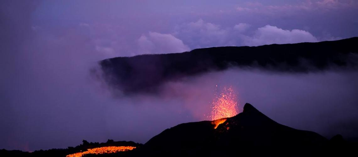 August 08 , 2017.  EN. Piton de la Fournaise , Fuego , Bogoslof , Bulusan .