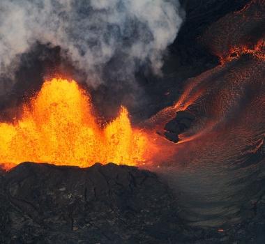 June 03 , 2018.  EN.   Pu'u 'Ō'ō / Kilauea , Yellowstone , San Miguel ( Chaparrastique ) , Merapi .
