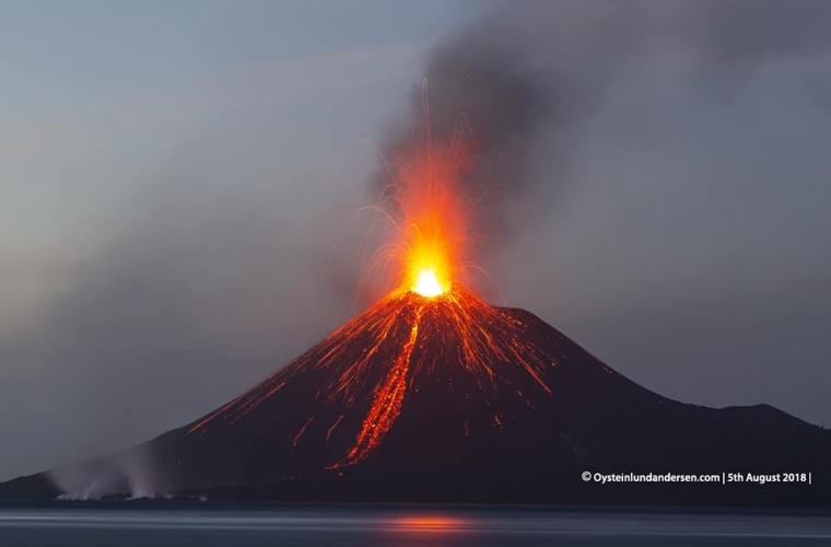 August 14 , 2018. EN.  Italy / Sicily : Etna , Peru : Sabancaya , Indonesia : Anak Krakatau , Vanuatu : Ambae , Guatemala : Pacaya .