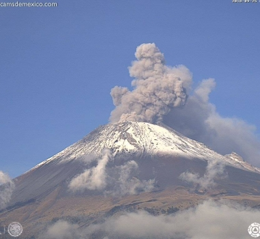 September 27 , 2018.  EN. Colombia : Nevado del Ruiz , La Réunion : Piton de la Fournaise , Mexico : Popocatepetl , Indonesia : Merapi .