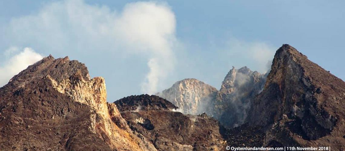 November 19 , 2018. EN. Indonesia : Merapi , Indonesia : Anak Krakatau , Guatemala : Fuego , Philippines : Kanlaon .