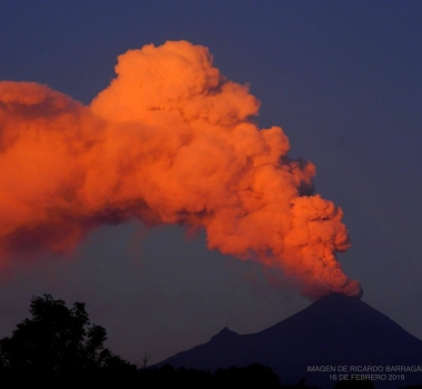 February 18 , 2019 . EN.   La Réunion : Piton de la Fournaise , Kamchatka : Karymsky , Mexico : Popocatepetl , Alaska : Cleveland .