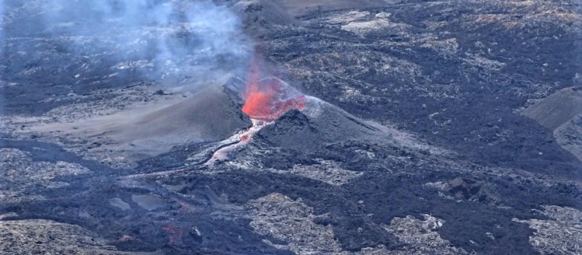 September 19 , 2018.  EN.  La Réunion : Piton de la Fournaise , Colombia : Nevado del Ruiz , Alaska : Veniaminof , Hawai : Kilauea , Mexico : Popocatepetl .