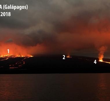 July 24 , 2018. EN.   Ecuador / Galapagos : Sierra Negra , Peru : Sabancaya , Hawai : Kilauea , Indonesia : Agung .