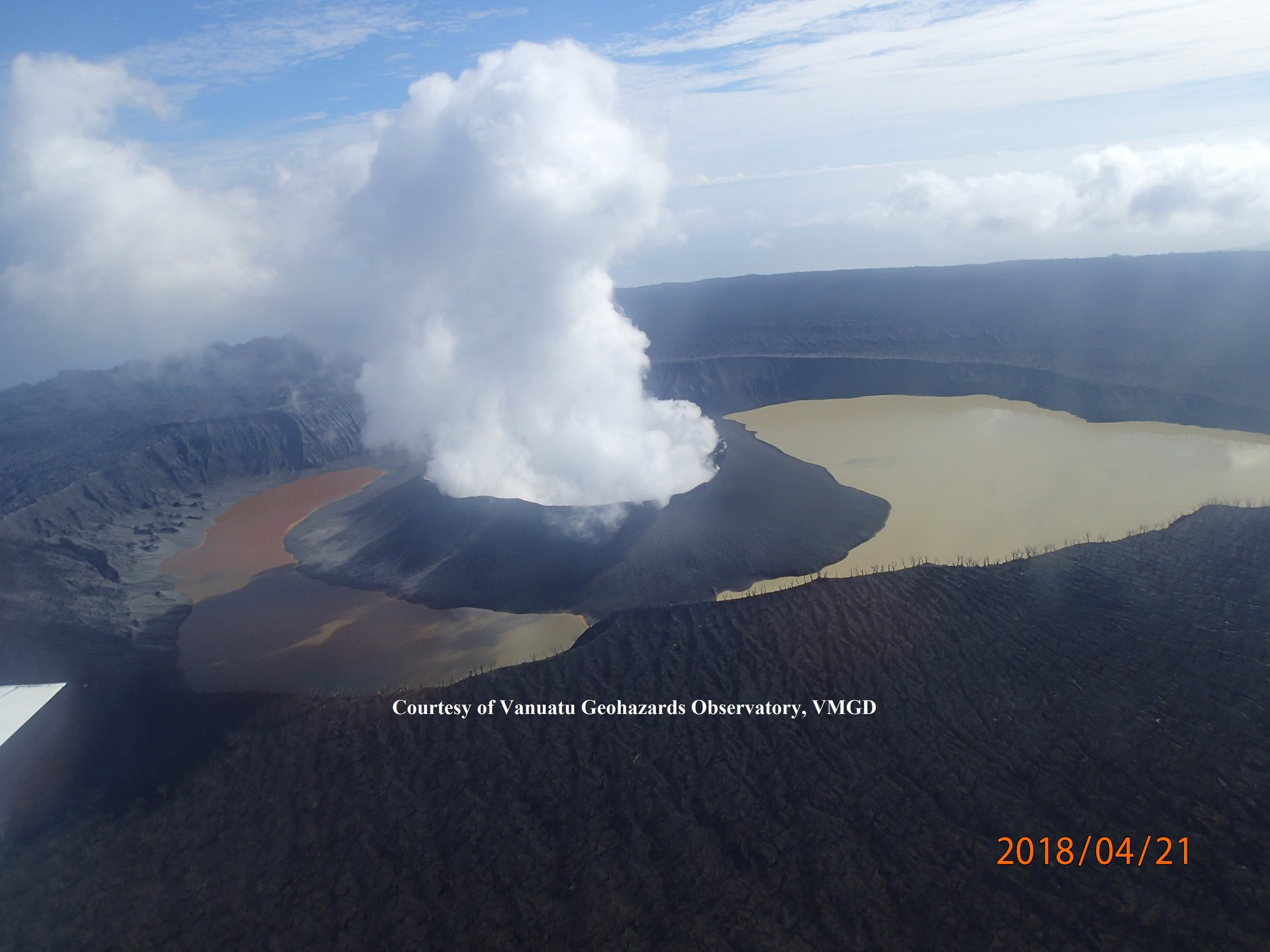 April 24 , 2018. EN.  Ambae , Piton de la Fournaise , Sabancaya , San Cristobal , Kilauea .