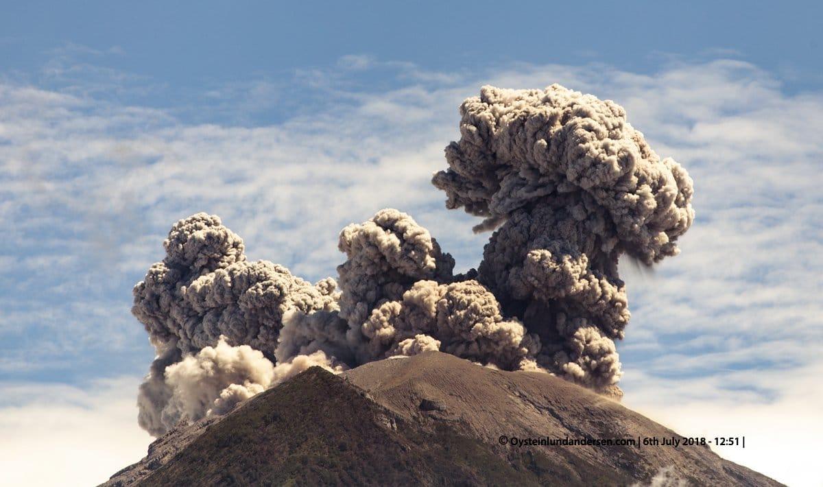 06 Juillet 2018 . FR. Indonésie : Anak Krakatau , Guatemala : Pacaya , Hawai : Kilauea , Colombie : Chiles / Cerro Negro ,  Indonésie : Agung .