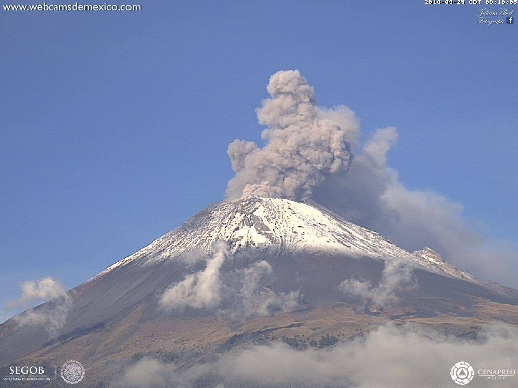27 Septembre 2018. FR. Colombie : Nevado del Ruiz , La Réunion : Piton de la Fournaise , Mexique : Popocatepetl , Indonésie : Merapi .