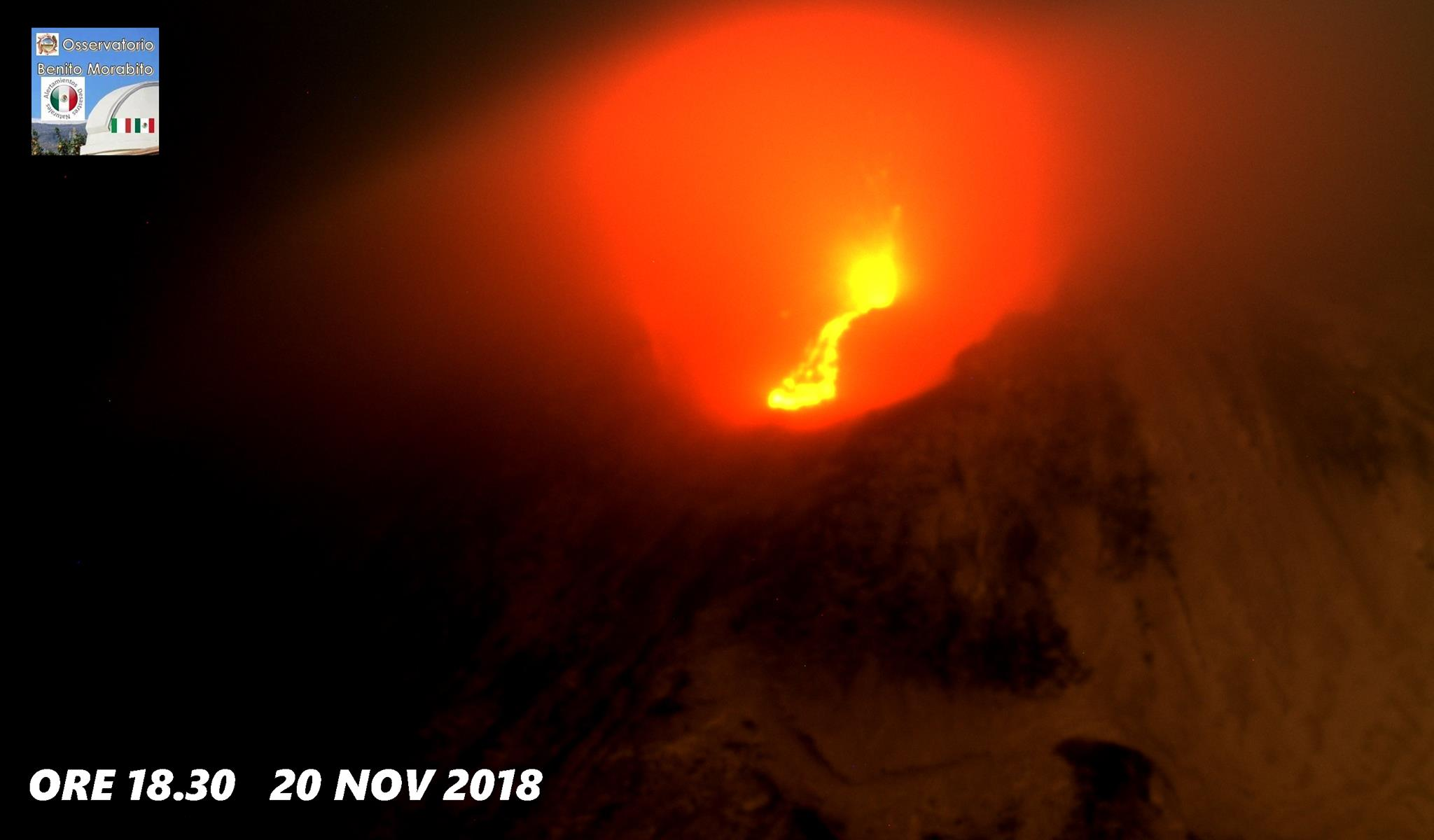 November 21 , 2018. EN. Italy / Sicily : Etna , Colombia : Chiles / Cerro Negro , Vanuatu Archipelago : Yasur , Guatemala : Pacaya .