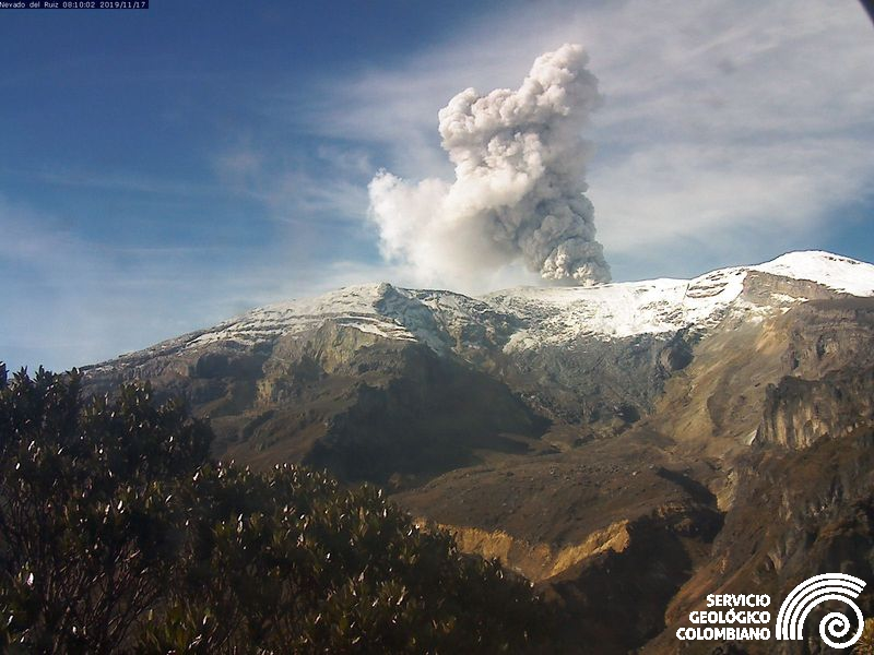 November 20, 2019 . EN . Alaska : Shishaldin , Colombia : Nevado del Ruiz , Italy / Sicily : Etna , Guatemala : Santiaguito .