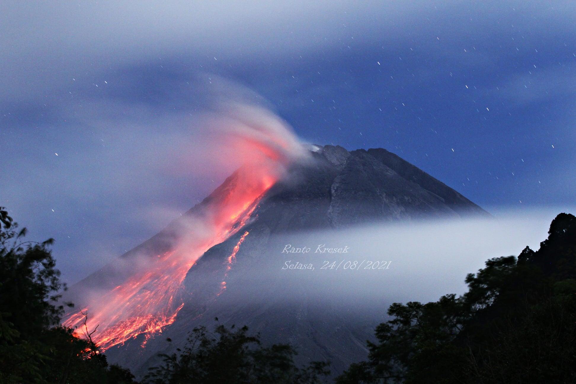 August 28, 2021. EN. Indonesia : Merapi , Alaska : Great Sitkin , Philippines : Taal , Hawaii : Kilauea , Japan : Fukutoku-Okanoba , Guatemala : Santiaguito .
